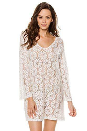 J. VALDI Women's Wovens Long Sleeve Crochet Cover Tunic Swim Cover Up White S