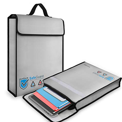 Vemingo Feuerfeste Tasche für Dokument 40x32x7.6 cm | feuersichere Wasserdichte Tasche Hülle Beutel Behälter für A4 Dokumente Passport Bankdatei Geld Wertsachen | aus Hochwertigem Silikon Fiberglas