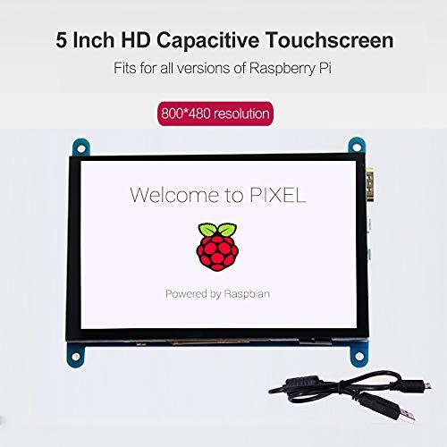 Leslaur Display touchscreen capacitivo HD da 5 pollici Raspberry Pi Monitor portatile con risoluzione 800 * 480 con interfaccia USB HD