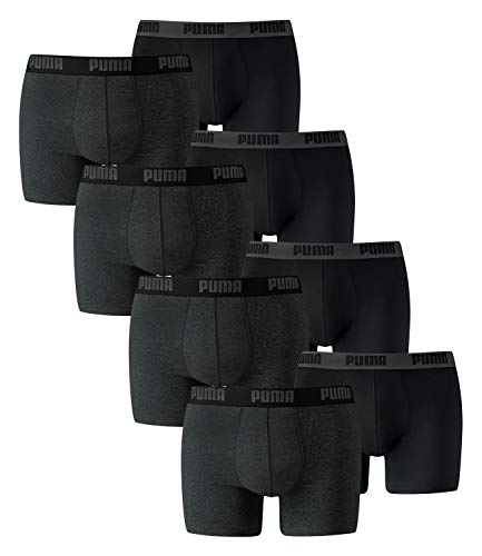 PUMA Herren Boxershorts Unterhosen 521015001 8er Pack , Wäschegröße:XXL, Artikel:-691 dark grey mel. / black
