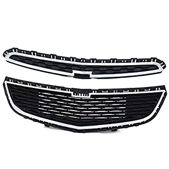 Front Bumper Upper + Lower Grille Compatible For Chevy Cruze 2015 Honeycomb Mesh Chrome ABS Grill Assembly
