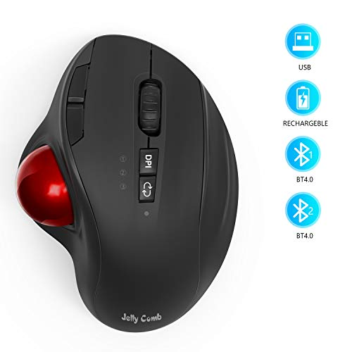 Jelly Comb Ratón Trackball inalámbrico Bluetooth o 2,4 GHz con receptor USB Ratones...