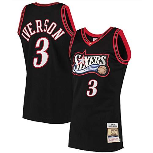 Allen Iverson 3# Jersey, Herren Retro Philadelphia 76er Basketball-Trikots, atmungsaktiver bestickter Basketball Swingman Jersey T-Shirt (S-XXL) L
