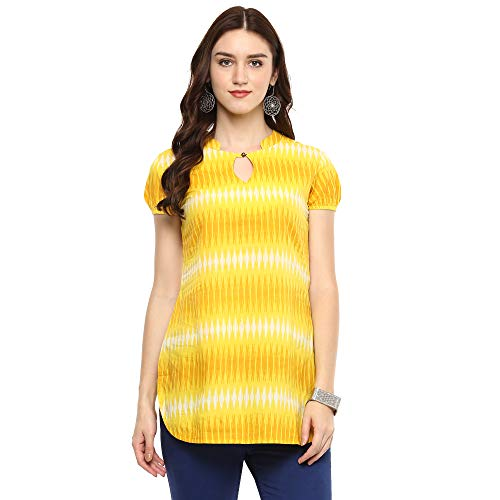 Indian Virasat Yellow Colored Cotton Morden Striped Tunic