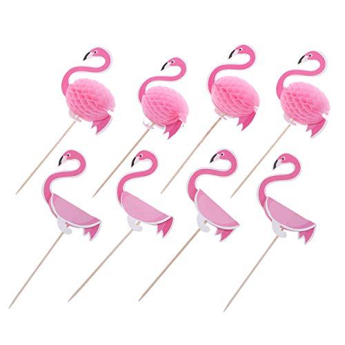 BESTonZON 3D Flamingo Cake Toppers Lovely Cake Picks Cupcake Decor Party Supplies para Boda Festival de cumpleaños
