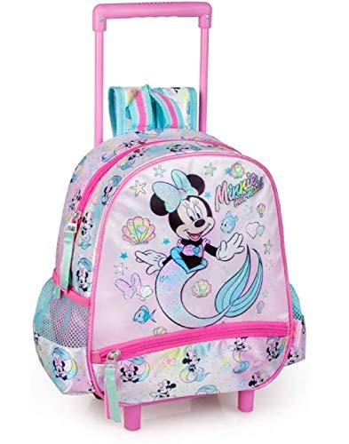 Zaino Asilo Trolley MINNIE SIRENA Disney Zainetto Bimba Bambina Scuola Materna 2 Ruote