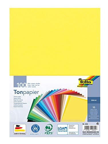folia 605 - Tonpapier Mix, DIN A4, 130 g/m², 100 Blatt sortiert in 10 Farben, zum Basteln und kreativen Gestalten von Karten, Fensterbildern und für Scrapbooking