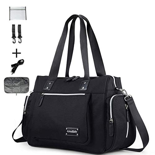 Diaper Tote Bag Diaper Bag,Travel Diaper Carry Bag, Baby Nappy Diaper Bag for Mom Grils Unisex Maternit. Multi Pocket, Tote Bag Beach Bag Travel Handbag Canva Large(Black)