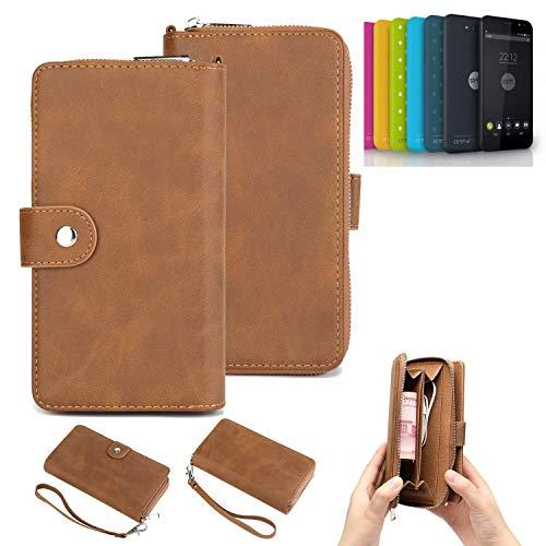 K-S-Trade® Handy-Schutz-Hülle Für Shift Shift4.2 Portemonnee Tasche Wallet-Case Bookstyle-Etui Braun (1x)