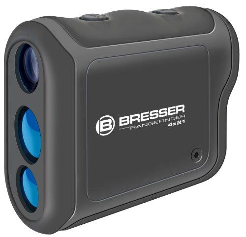 Bresser Entfernungsmesser Rangefinder 4x21 800 Meter mit mehrfachvergüteter Optik und LCD Display für Anzeige der Entfernung in Meter oder Yards, inklusive Gürteltasche