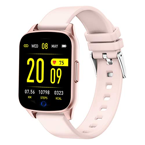 AMENON Fitness Tracker Watch for Women Men - Heart Rate Blood Pressure Oxygen Monitor Health Exercise Watch, Activity Tracker with Weather Step Calorie Counter, Waterproof Smart Fitness Watch (Pink)