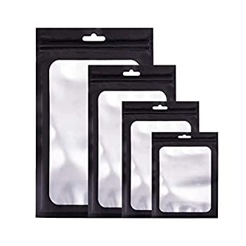 CAKKA Resealable Smell Proof Bags 100PCS 4 Size Mylar Ziplock Odor Proof Bag Aluminum Foil Pouch for Weed Candy Jewelry Cookies 3x4 4x6 5.5x8 6x9 Inch  Black