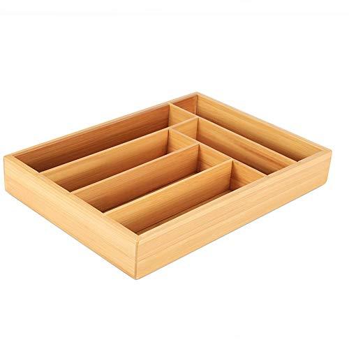 lyrlody Bestekbak, 6 vakken, bestekbak, lade van bamboe, lade-inzetstukken, bestekhouder, keukenorganizer, ladekast voor bestek organizer, 13,8 x 9,8 x 2 inch