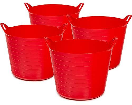 Ondis24 4X Tragekorb Flexi Tub 40L, Spielzeug Eimer Kinderzimmer, Wäschekorb Flexibler Kunststoff, Garten Kübel, rot
