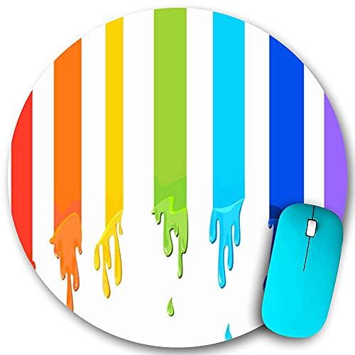 Rundes Mauspad, freudige Darstellung Regenbogenform Ansprechende Flüsse Farbstoff Positive Pigmentfarbe Zeichnen Farbe Design Färbung, rutschfeste Gummibasis Office...
