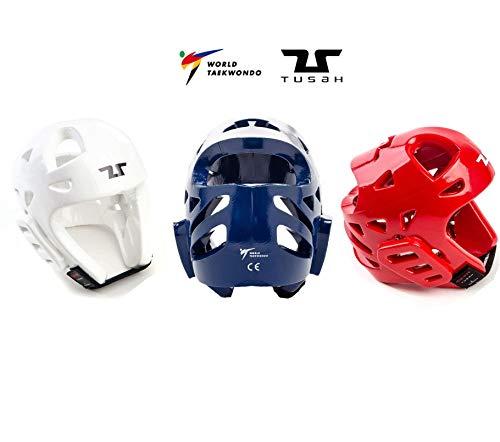 Tusah - Kopfschutz Kampfsport für Taekwondo offiziell zugelassen WT für Wettbewerbe und Training Weiß (M)