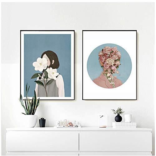 LIUXR Flower Girl Boy Ölgemälde Leinwand Poster und Drucke Nordic Style Kinder Dekoration Wandbild für Wohnzimmer Modern-20x28 Inchx2 No Frame