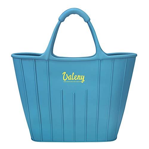 Valeny Einkaufstasche Damen Silikon Tasche Bequeme & Leichte Handtasche Strandtasche für Mädchen Lady (Blau)