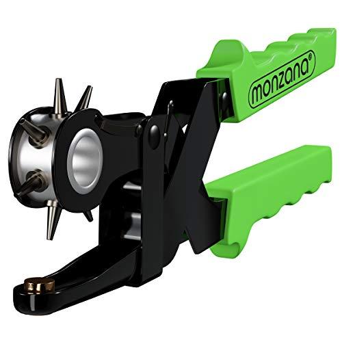Deuba Alicate Sacabocados de Acero con 6 Tamaños de Punzones Perforadora de Tejidos Cuero Cinturones Robusto Negro y Verde