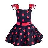 Lito Angels Vestido de Ladybug para Niña Pequeños Disfraz de Mariquita de Halloween Fiesta de Cumpleaños Carnaval Festival Falda de Lunares Negro Talla 3 a 4 Años