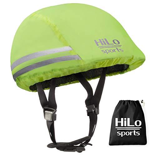 HiLo sports Helmbezug wasserdicht mit Sicherheits-Reflektoren - Einheitsgröße Helmüberzug Fahrradhelm - Helm Regenschutz - Helmüberzieher Fahrrad (neon-gelb)