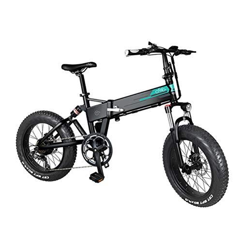 Bicicleta de montaña eléctrica, FIIDO M1 Bicicleta de montaña eléctrica Plegable Motor de 250 W Desviador de 7 velocidades Pantalla LCD de 3 Modos Pantalla de 20 Ruedas de 4 Pulgadas Neumáticos,Negro