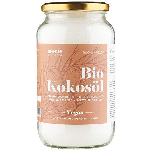 Huile de Coco Bio Extra Vierge MonteNativo - 1000ml (1Liter) Huile de Noix de Coco Biologique et non Raffinée, Pure et 100% Bio - Idéale Pour Les Cheveux, Le Corps et Comme Aliment (1x1000ml)