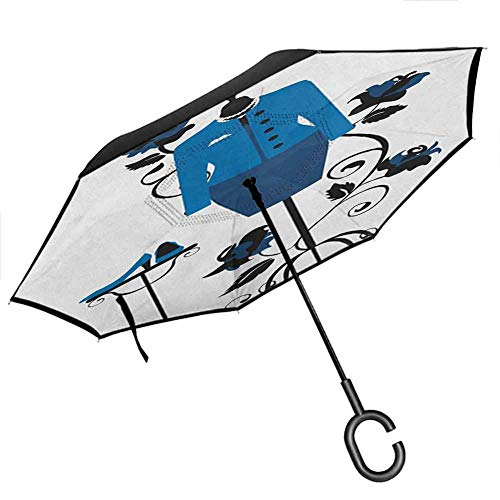 homecoco All Season Parasol Sunny Heels and Dresses,Mannequin in Tailors Shop with Blooming Flower Retro Classical, Blue Black White Umbrella for Cars