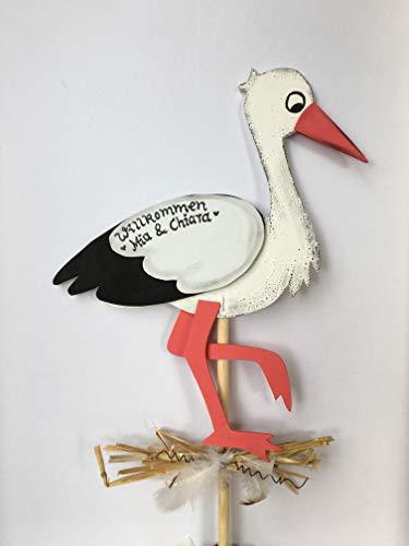 Holzdeko Storch/Klapperstorch mit Beschriftung