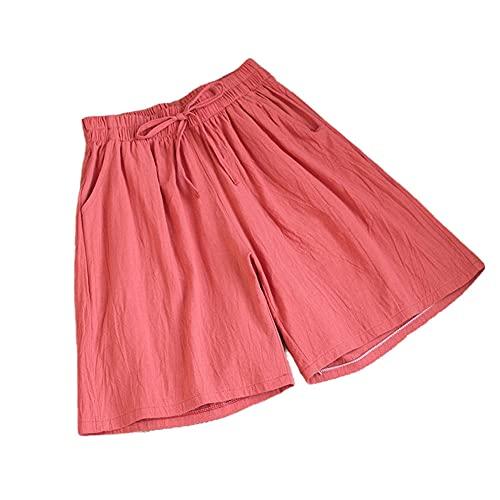 ZKYUCHUN Damshorts sommar vardaglig solid bomull linne shorts hög midja lösa shorts för flickor mjuka coola damshorts M-3XL färg5 XL