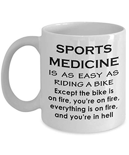 Gifts For Athletic Trainer - Sports Medicine Coffee Mug Tea Cup Certified Practitioner ATs Funny Cute Gag Athlete Triathlete Appreciation Gift Idea - Easy as Riding Bike on Fire
