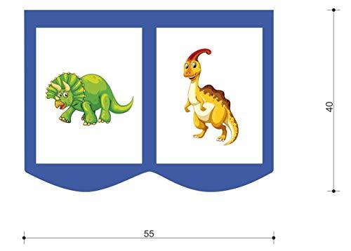 XXL Discount bedtas speeltas bed tas voor kinderbed afmetingen: 55 x 40 cm, 100% katoen opslag bedaccessoires stapelbed speelbed stoffen tas (blauw/wit, dino)