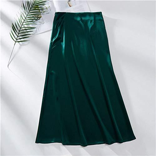 HEHEAB Falda,La Mujer Verde Falda De Satén De Seda Vintage Estilo Coreano Larga Falda Midi De Cintura Alta para Las Mujeres Una Línea Elegante Faldas Verano,L