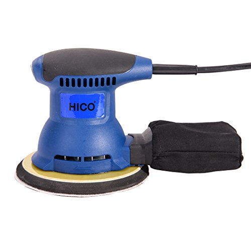 HICO HET205A 6-Inch Electric Orbit Sander Random Handheld Drywall with Palm Sander Pad and Dust Bag, 2.0-Amp Grip Sander, Dust Collection System for DIY