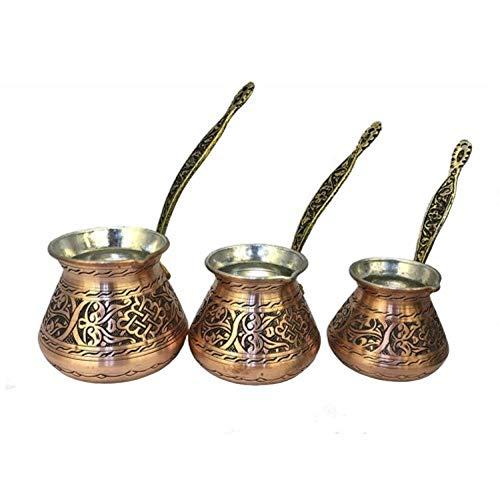 xmwm Türkisches traditionelles Design Kupfer handgemacht graviert mit Griff mit Inlays Kaffeekanne Osmanische arabische Kaffee-Espressotöpfe, Kupfer 3-teiliges Set, TÜRKEI