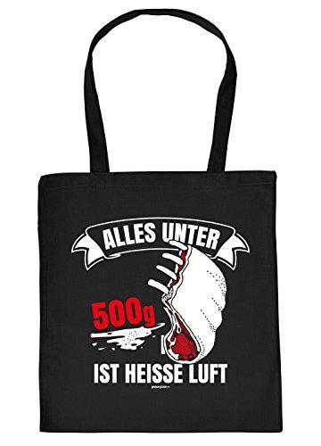 Griller Tasche Grillzubehör Tragetasche Grill : Alles unter 500 g ist Heisse Luft - Sprüche Baumwolltasche Grillen -Farbe: schwarz