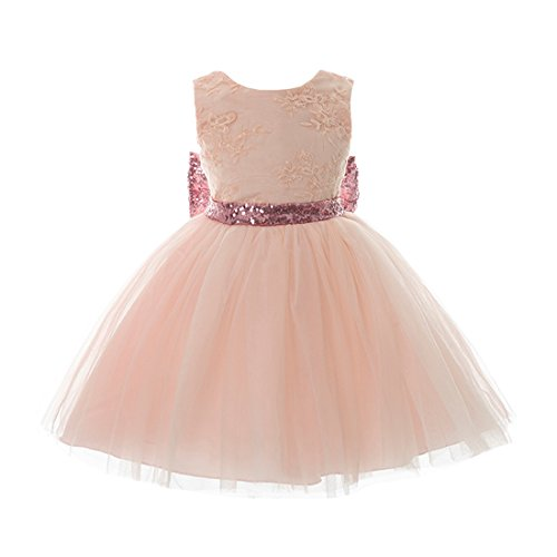 Inlefen Girls Bowknot Lace Princess Gonna Paillettes Estate Abiti per Bebè Bambini 0-5 Anni Rosa 100/2-3 Anni