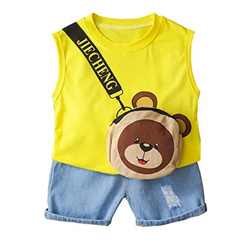 Briskorry Ensemble de vêtements d'été pour bébé garçon - 2 pièces - T-shirt en denim - Short, pantalon, sol - Sans manches, haut et short - Tenue décontractée.
