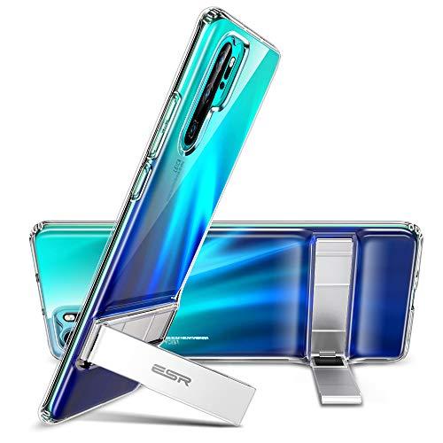 ESR Cover per Huawei P30 PRO, Custodia con Cavalletto in Metallo per Huawei P30 PRO, [Supporto Verticale e Orizzontale] [Protezione Anticaduta Rinforzata] Retro Morbido in TPU Flessibile, Trasparente