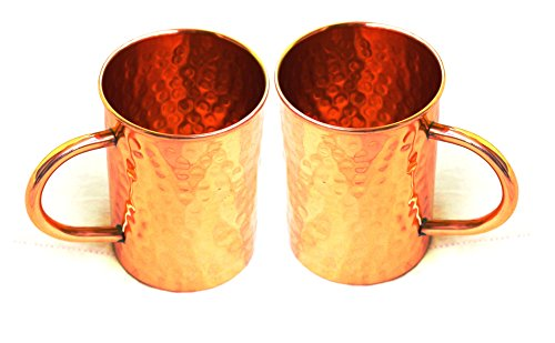 STREET CRAFT Hammered Copper Moscow Mule Mug Handmade of 100% Pure Copper Drinkware Accessories Hammered Copper Moscow Mule Mug Capacity 16 Oz Pack of 2