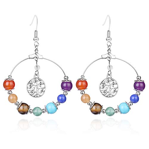 7 Chakra Tree Of Life Women Drop Earrings Natural Round Gem Stone Bead Reiki Healing Crystal Earrings Bohemian Jewelry