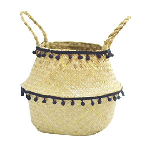 Natural Seagrass Storage Basket - Seagrass Belly Basket with Pompom Foldable Woven Flower Basket with Handle for Laundry, Toys or Planters