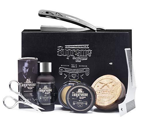 Bartpflege Set mit Rasiermesser ● ORIGINAL BARTSTOPPEL© GERMANY ● Männer Geschenk Hochwertig ● Manhattan Vanille Duft