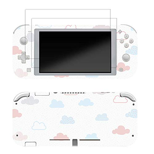 Skin for Switch Lite 3M Vinyl Full Cover Sticker Decal,2 PCS Tempered Glass Screen Protector for Switch Lite(Cloud Print)