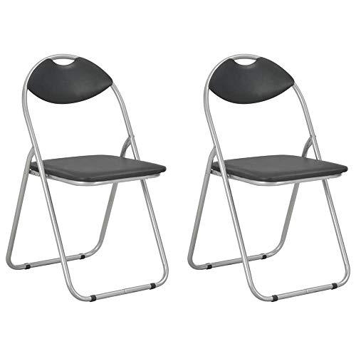 Klappstühle 2 STK. Kunstleder Klappbarer Stuhl in Schwarz Klappstuhl Gepolstert Metall-Klappstuhl Stühle Catering Stuhl, Platzsparende Aufbewahrung und Transport, Catering Möbel, 2er-Set [DE Lager]