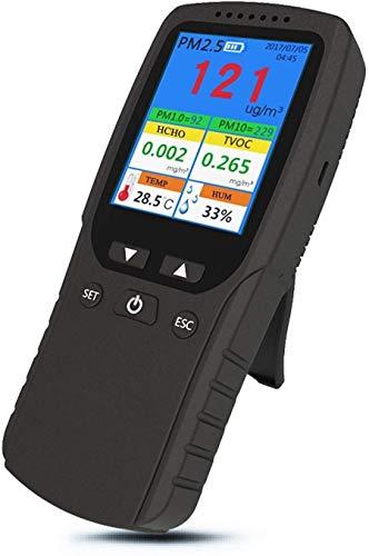 KONGZIR Aire portátil Monitor de Calidad del Aire Interior Precisa Prueba PM 2.5 Detector de formaldehído HCHO con PM1.0 de PM10 COVT Temperatura HUM de datos de prueba for Multi AQI interior del coch