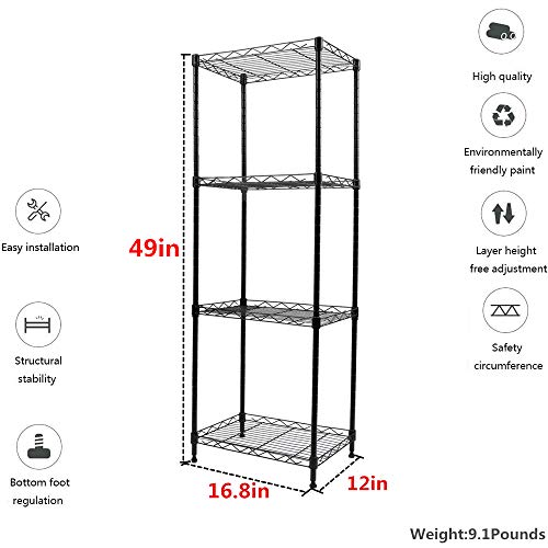 YOHKOH 4-Tier Wire Shelving Unit Metal Storage Rack Adjustable Organizer Perfect for Pantry Laundry Bathroom Kitchen Closet Organization (Black)