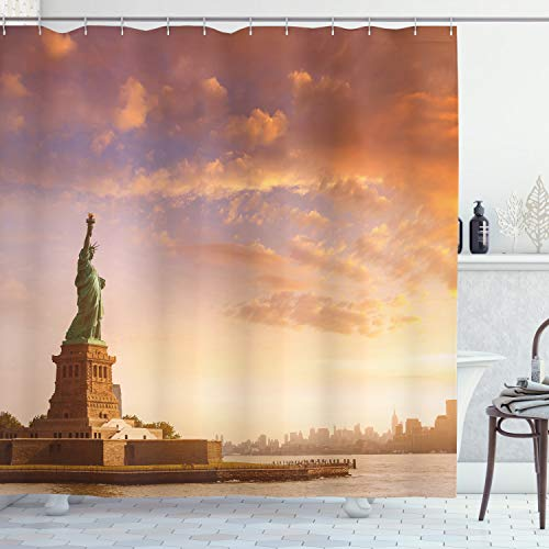 ABAKUHAUS Landschaft Duschvorhang, USA New York Landschaft, Waserdichter Stoff mit 12 Haken Set Dekorativer Farbfest Bakterie Resistet, 175 x 180 cm, Multicolor