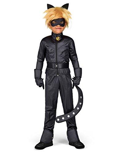 COOLMP Coffret déguisement Chat Noir Miraculous Enfant - Taille 8 à 10 Ans - Déguisement pour Enfant, garçon et Fille, Anniversaire, Carnaval