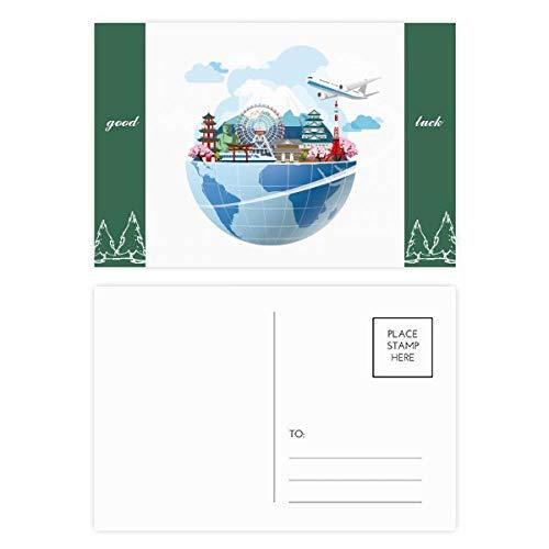 DIYthinker Diarios de viajes Japón Fuji Sakura Plano Buen conjunto de tarjeta postal de la suerte de correo lateral 20Pcs 5,7 pulgadas x 3,8 pulgadas Multicolor